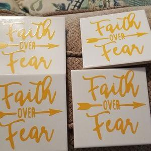 Faith Over Fear coasters NWOT